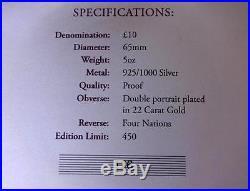 2012 Silver Proof 5oz Guernsey £10 Coin Box + Coa Queen Diamond Jubilee 1/450