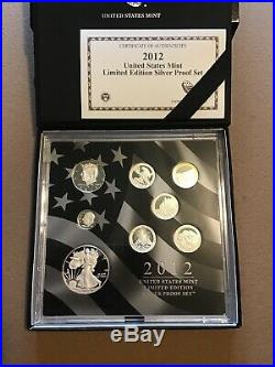 2012 US Mint Limited Edition Silver Proof Set. Box, Slip Cover, COA, Low Mintage