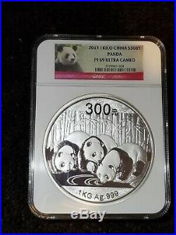 2013 1 kilo. 999 silver China Panda Proof PF69 Ultra Cameo with box