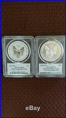 2013 Reverse Proof & Enhanced Proof Set PCGS PF&SP70 Mercanti Signed in box