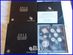 2013 US Mint Limited Edition Silver Proof Set 8 Silver Coins in Original Box COA
