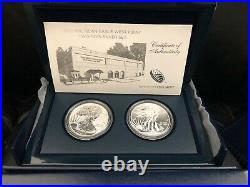 2013 W AMERICAN EAGLE REVERSE PROOF & ENHANCED 2 COIN WEST POINT SET WithBOX/COA