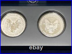 2013 W Reverse Proof & Enhanced 2-COIN SILVER Eagle West PtSET withCOA & BOX RARE