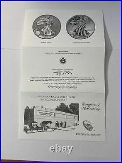 2013-W Silver Eagle 2 Coin Set Reverse Proof/Enhanced with Box/CoA