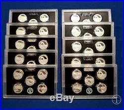 2014 S Silver Quarter Proof Sets TEN SET LOT- 50 COINS- 90% Silver-NO Box/COA