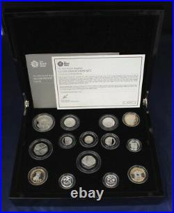 2014 Silver Proof 14 coin Set in Case with COA & Outer Box