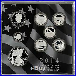 2014 US Mint Limited Edition Silver Proof 8 Coin Set with Box and COA Toned