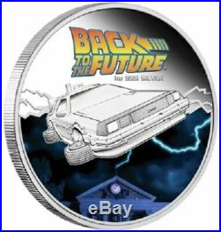 2015 $1 Back to the Future Delorean 1 oz Silver proof with Box and Car