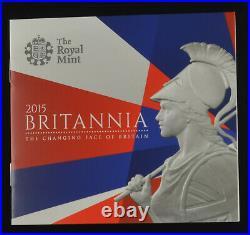 2015 ROYAL MINT BRITANNIA 5oz SILVER PROOF TEN POUND £10 COIN coa/box