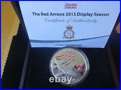 2015 Silver Proof Colour 5oz Jersey £10 Coin Box +coa Red Arrows Display 1/450
