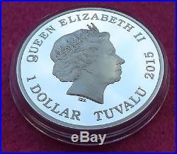 2015 TUVALU BACK TO THE FUTURE 1oz $1 SILVER PROOF COIN BOX AND COA