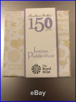 2016 Beatrix Potter Jemima Puddle-duck 50p Fifty Pence Silver Proof Coa Box