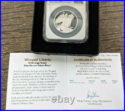 2016 NGC St Gauden's 1 oz Silver Winged Liberty High Relief Proof PF70 Box+COA