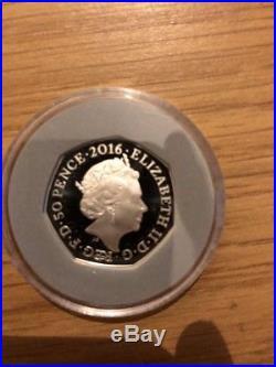 2016 Royal Mint Beatrix Potter 50p Fifty Pence Peter Rabbit Silver Proof Box Coa