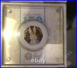 2016 Silver proof Beatrix Potters Peter Rabbit 50p coin boxed with C of A
