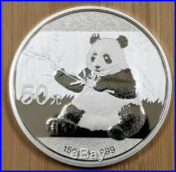 2017 Chinese 150 grams Panda 50 Yuan. 999 Fine SILVER PROOF with BOX & COA 70mm