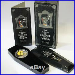 2017 Disney The Nightmare Before Christmas $2 Silver Proof 1oz Coin Boxed Coffin
