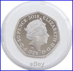 2018 Beatrix Potter Peter Rabbit 50p Fifty Pence Silver Proof Coin Box Coa