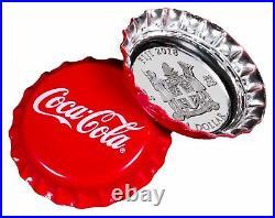 2018 Fiji Coca-Cola Bottle Cap Shaped $1 One Dollar Silver Proof Coin Box Coa