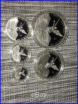2018 Mexico Libertad 5-Coin Silver Proof Set, 1.9 oz 999 Silver, Box&Cer Rare