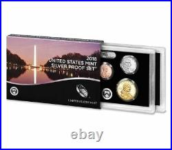 2018 S SILVER PROOF Set US Mint 10 Coins Kennedy ATB $1 Dime Penny with BOX COA