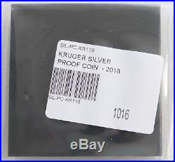 2018 South Africa Krugerrand Silver Proof 1oz Coin Box Coa Mintage 15,000