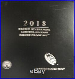 2018 U. S. Mint Limited Edition Silver Proof Set with Box & COA 8 Pieces