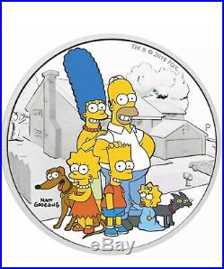 2019 2020 THE SIMPSON FAMILY 2 OZ PROOF SILVER COIN MINT BOX and COA