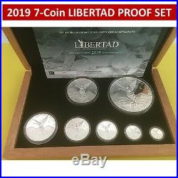 2019 Libertad 7 Coin Silver Proof Set Only 250 Sets With Coa & Box Mexico