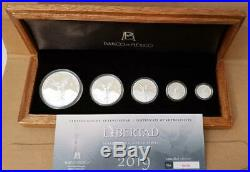 2019 Mexico Libertad Winged Victory 5 Coin Silver Proof Boxed Set