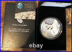 2019-P 5oz Proof American Apollo 11 50th Anniversary. 999 Silver Coin Box + CoA
