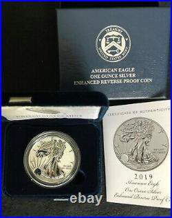 2019-S AMERICAN EAGLE ENHANCED REVERSE SILVER PROOF withBOX and COA