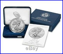2019-S American Eagle One Ounce Silver Enhanced Reverse Proof Coin In ORGNL BOX
