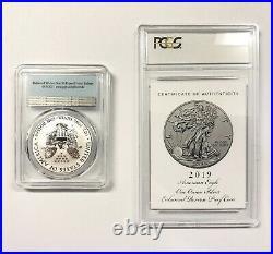 2019-S Enhanced Reverse Proof $1 Silver American Eagle PCGS PF69 COA and box
