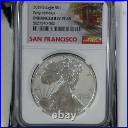 2019-S Enhanced Reverse Proof Silver Eagle NGC PF69 EARLY RELEASES withBox & COA