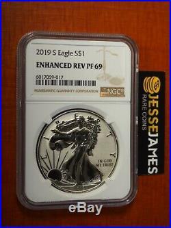 2019 S Enhanced Reverse Proof Silver Eagle Ngc Pf69 Classic Brown Label Box/coa