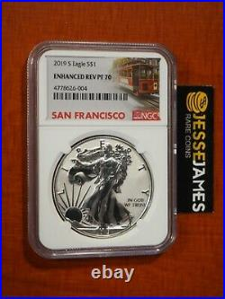 2019 S Enhanced Reverse Proof Silver Eagle Ngc Pf70 Trolley Label With Box/coa