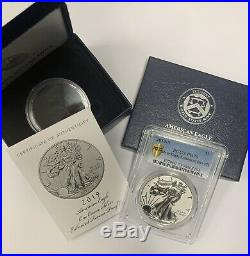 2019 S Enhanced Reverse Proof Silver Eagle PR70 WithBox & COA