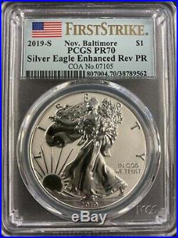 2019 S Enhanced Reverse Proof Silver Eagle Pcgs Pr70 Fs Nov Baltimore W Box Coa