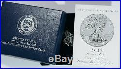 2019 S Enhanced Reverse Proof Silver Eagle With Original Mint Box & Coa