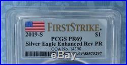 2019 S PCGS PR69 FS Enhanced Reverse Proof Silver Eagle, FIRST STRIKE Box Coa