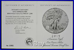 2019-S Silver Eagle Enhanced Reverse Proof With OGP and Box Lowest Mintage