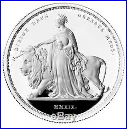 2019 Silver Proof Una and the Lion. Royal Mint 2 Oz. Coin, Box & COA
