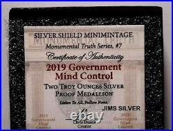 2019 Silver Shield GOVERNMENT MIND CONTROL 2 oz. Silver PROOF with COA & BOX! 391