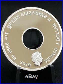 2019 TUVALU 1oz. 9999 SILVER THE SIMPSONS DONUT PROOF COIN WITH BOX & COA