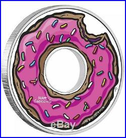 2019 The Simpsons Donut 1 Oz. Silver Proof Coin With Box/coa Mintage 3,000 New