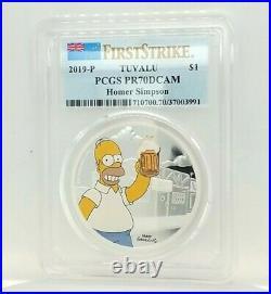 2019 Tuvalu The Simpson's Homer 1oz. 999 Proof PR70 Silver Coin Box & COA