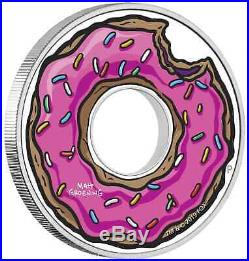 2019 Tuvalu The Simpsons Donut $1 One Dollar Silver Proof 1oz Coin Box Coa
