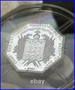2020 France Lafayette Arrival in Boston 2 oz Silver Proof Coin (COA/Box)
