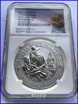 2020 Mayflower Anniversary 99.9% Silver REVERSE Proof NGC PF70 With Box And CoA